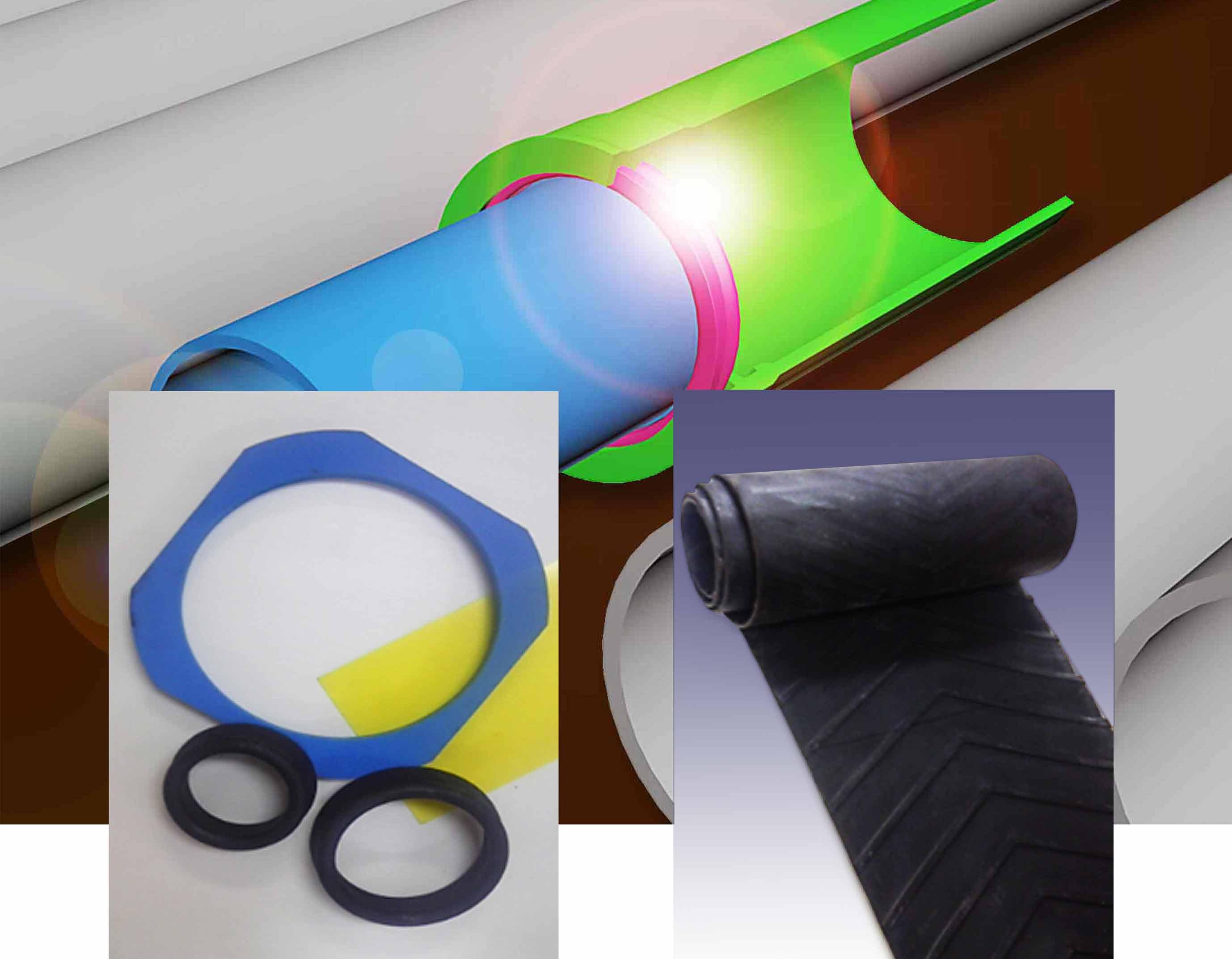 ゴム輪、ゴムベルト等の加工品やアクリル樹脂などの加工製品